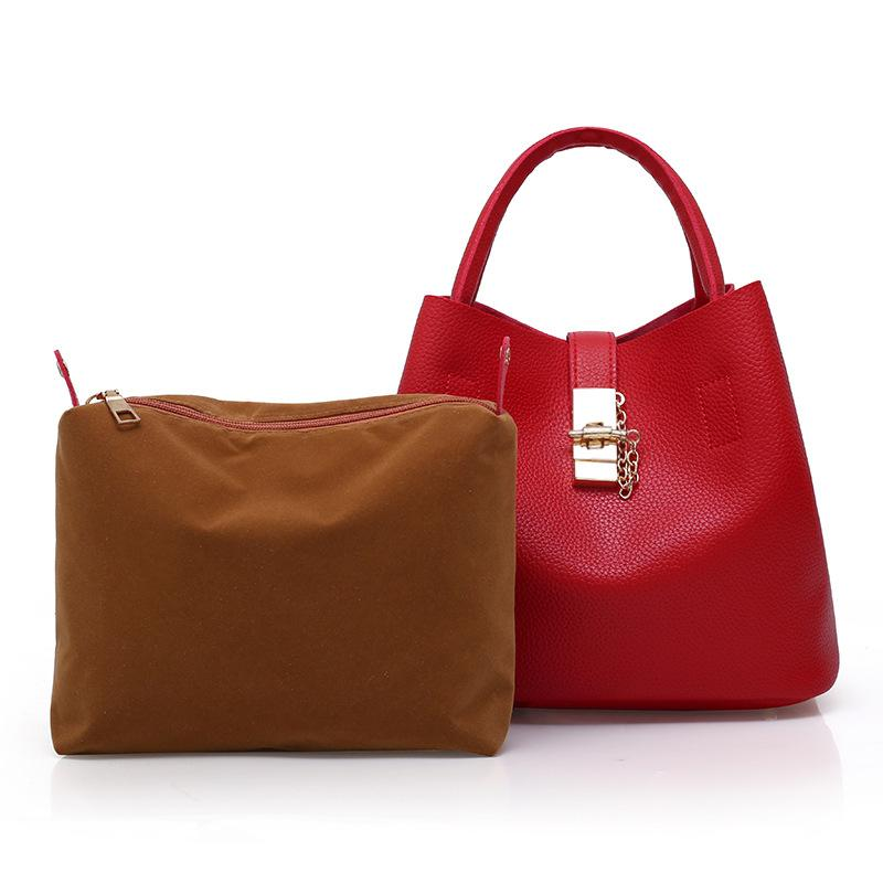 HBP Stitching single shoulder bag for women PU bucket bag for women European and American fashion microfiber hand bill of lading