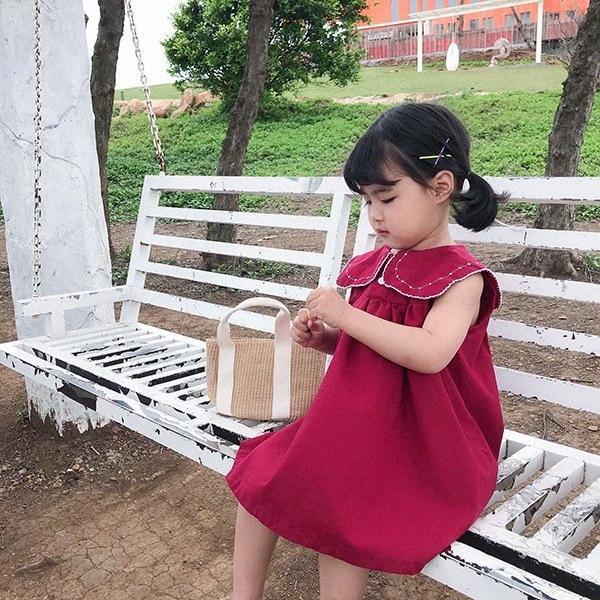 WLG ragazze sveglie Dreses bambini senza maniche Rosso fisso blu scuro Beige vestito dalla neonata casuale Tutti abbinare i vestiti per 2-6 anni Ntlr #