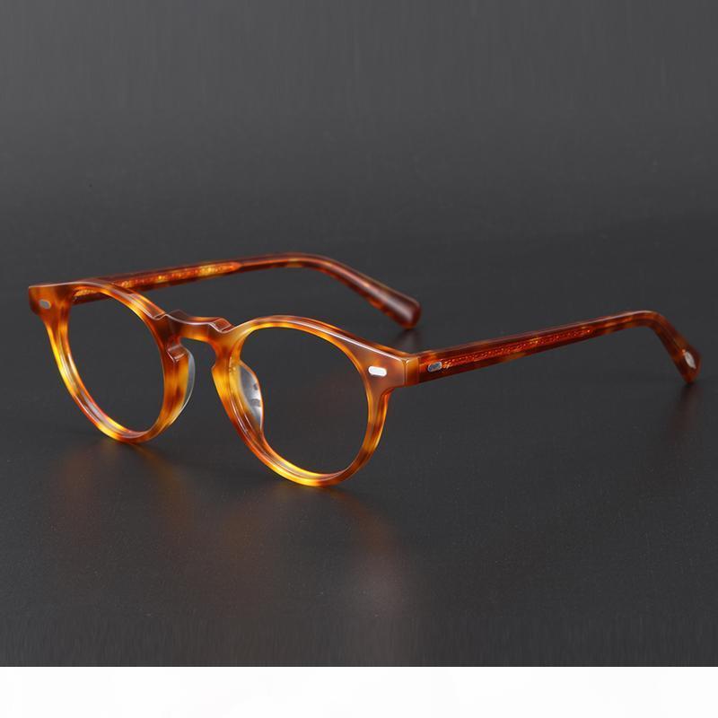 Lentes de acetato vintage redondo Gregory Peck OV5186 Mujeres Prescripción Myopia Optical Borrar Marcos Eyewear Anti azul Lente Lente T200812