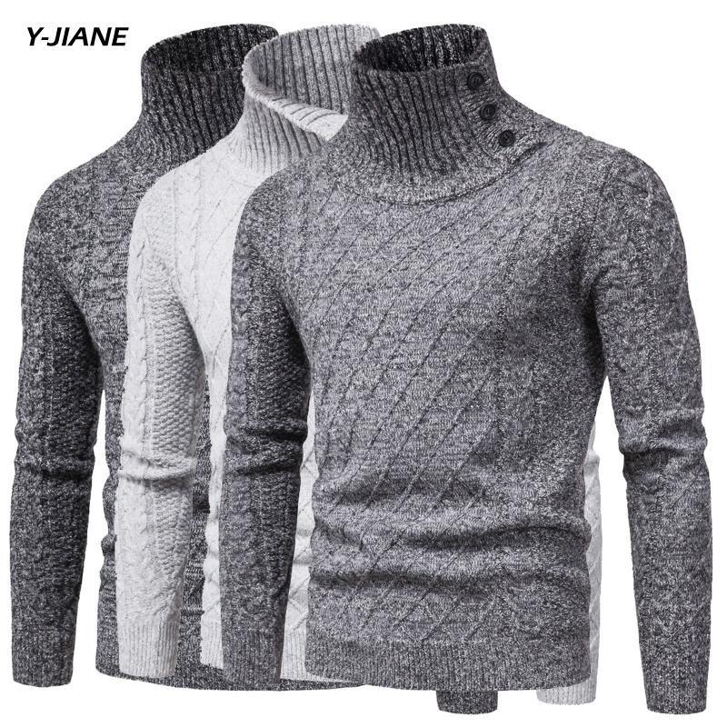 Brand New Uomo Gotico Turtelneck Maglione Pullover manica lunga Stretch Slim maglione di base dolcevita Maschio camicetta primavera Clothes # G3