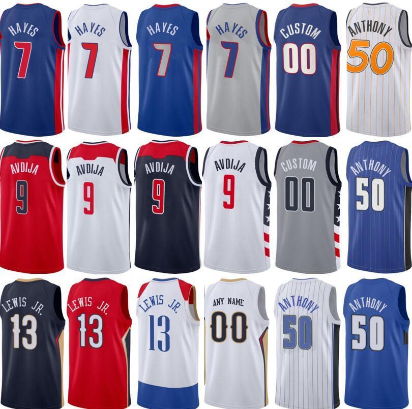 Yeni Baskılı 7 Killian Hayes Jersey 9 Deni Avdija 13 Kira Lewis Jr 50 Cole Anthony Mavi Beyaz Kırmızı Siyah Basketbol Edition