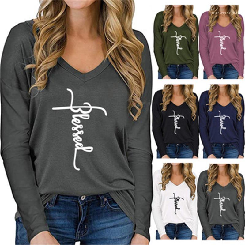 Lâche T-shirts de femmes de lettre T-shirts Mode Tendance V Neck Occident à manches longues Casual Hauts Vêtements Designer New Spring Femme