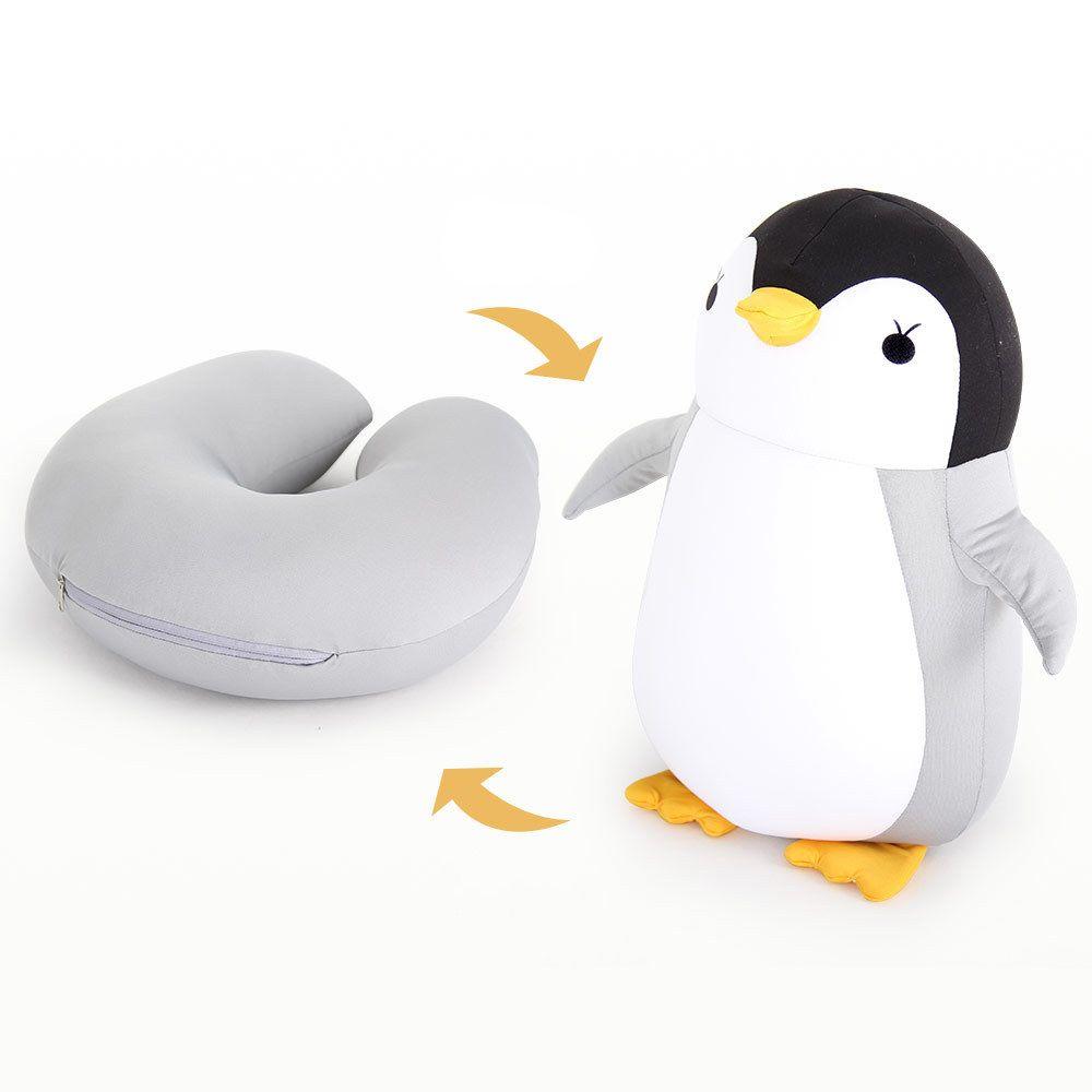 Hot Sale Cute Penguin Deformable U-shaped Plush Pillow Travel Pillow Cartoon Animal Car Headrest Doll Multi-functional Storage T200603