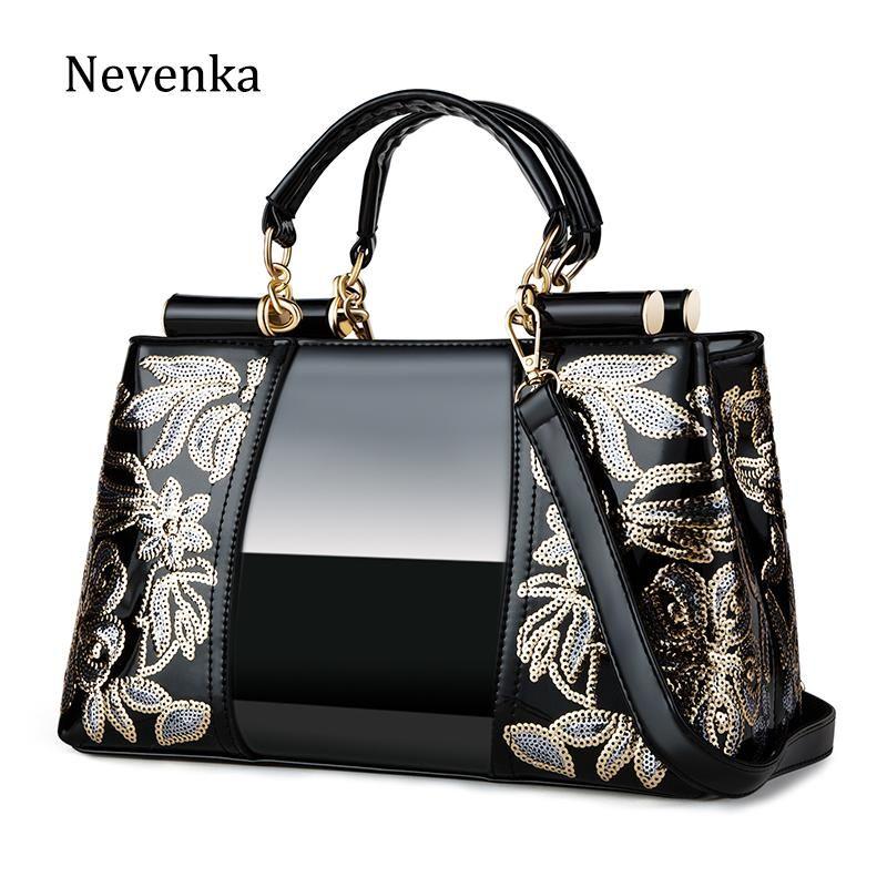 Nevenka ricamo Donne Bag PU borse a spalla in pelle top-handle borse di lusso sacchetti femminili per le donne 2020