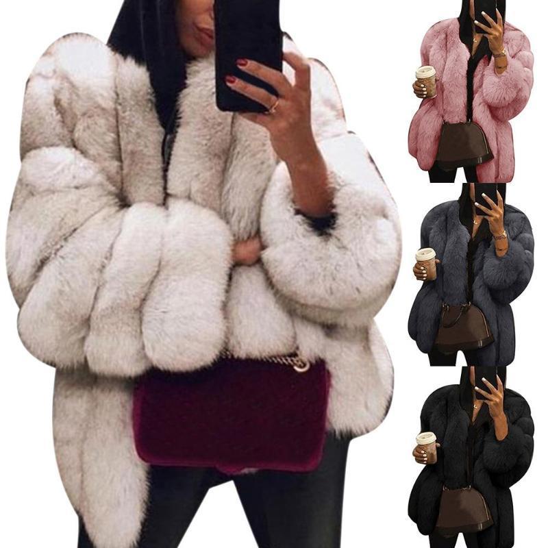 Пушистый пальто моды осень и зима женская куртка большой размер короткий искусственный мех пальто теплое пушистое с длинным рукавом куртки