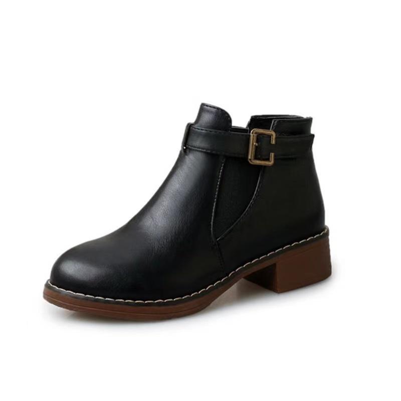Femmes Chaussures Martin Bottes Femme Chaussures Wincher Femme Fashion Toe Plat Belt Solide B8QM