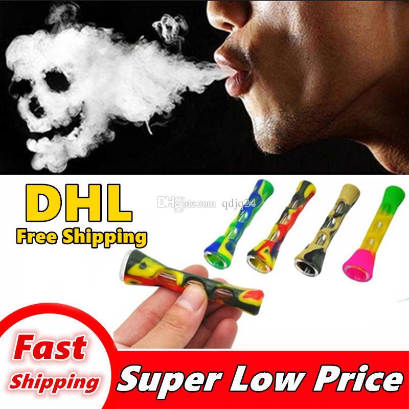 Vente en gros BONG Un tuyau de verre rougeoyant en métal Fumeurs Mini tabac cigarettes tuyaux de tabac hommes coloré lumière portable main 66214