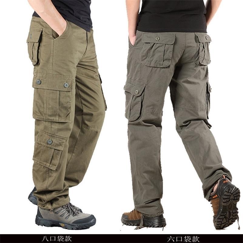 Pantalones tácticos Ejército Masculino Camo Jogger Tallas Tallas Pantalones de algodón Muchos Poljetos Zip Militar Camuflaje Black Men's Cargo Pantalones 201110