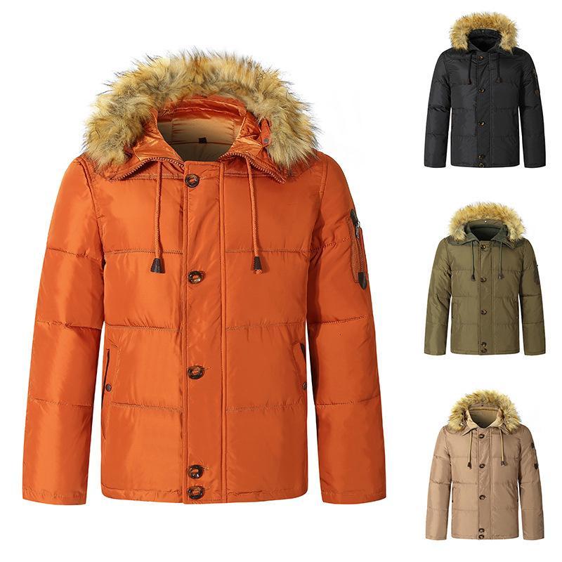 2020 Uomo Inverno Nuovo pulsante con cerniera con cerniera Colletto in pelliccia con cappuccio Giovani Solido Colore caldo Giacca
