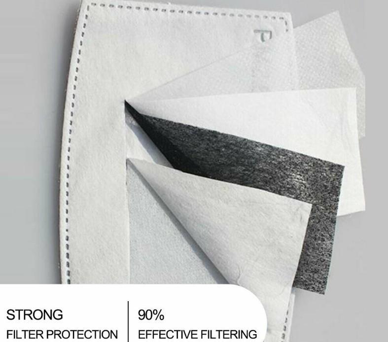 Goccioline antipolvere Sostituibile Maschera Sostituibile Inserto per la maschera Bocca di foschia PM2.5 Filtri Prodotti protettivi per la casa 100pcs SadFsad