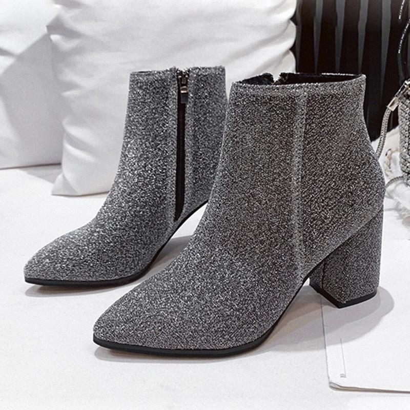 Rimocy paillettes brillantes chevilles carrées cheville bottines pour femmes 2020 argent noir pointu pieds chaussures fantaisie femme short bottillons femelle # er1f