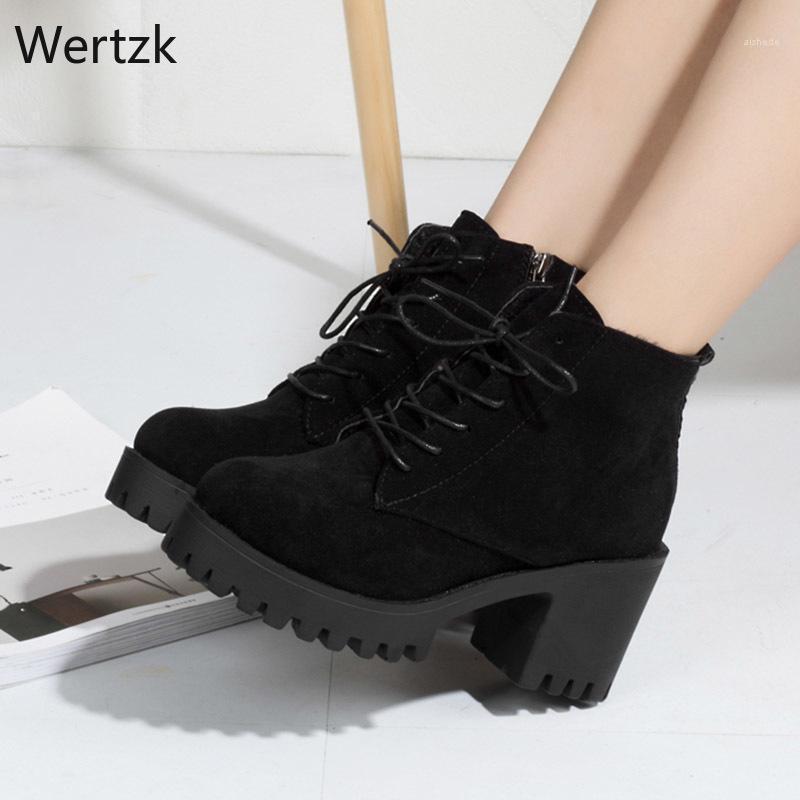 Stivali Tacchi alti opachi Lacci up caviglia per le scarpe da donna Black Platform Boot Botsines Mujer 2021 Inverno A3481