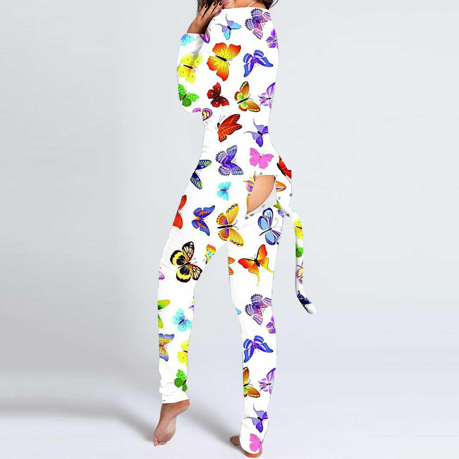 Mujer sexy impresión recorte botón funcional colgajo adultos noche ropa larga manga de manga traje traje de traje de broma pijamas