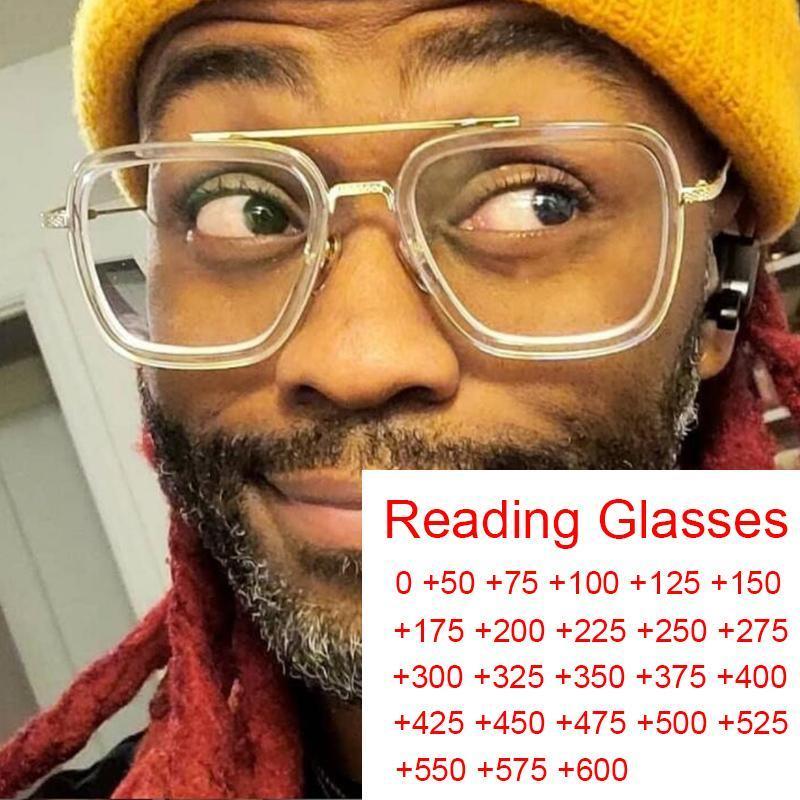 Güneş gözlükleri şeffaf moda bilgisayar koca kare anti mavi ışık okuma reçete artı 2 3 4 5 büyüteç