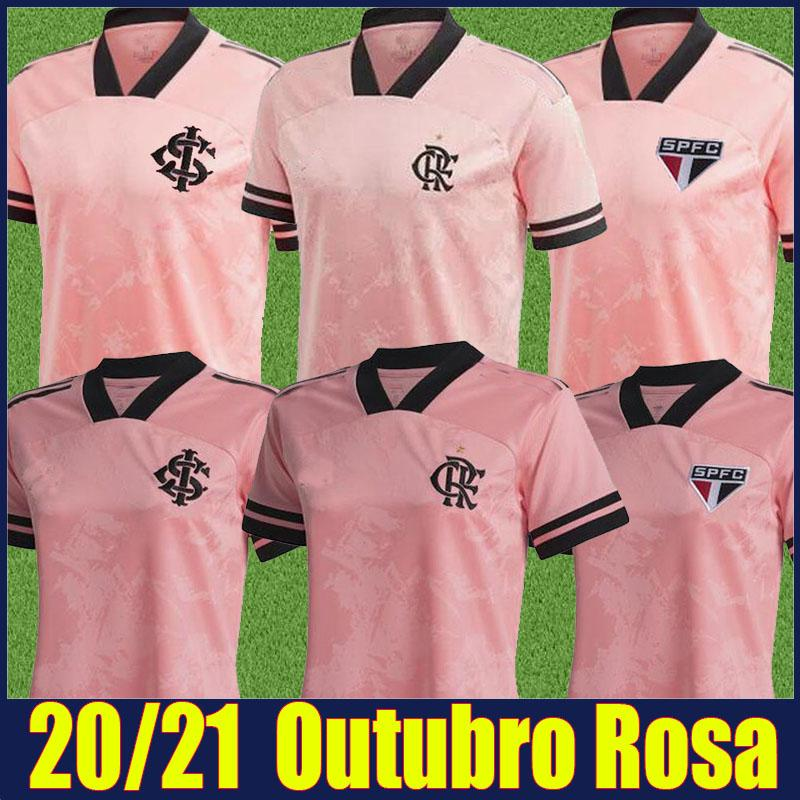 2020 2021 Camisa De Flamengo Outubro Rosa Futbol Jersey Sao Paulo Sao SC Internacional Pembe Özel Futbol Formaları Adam Kadınlar Üniforma 20/21