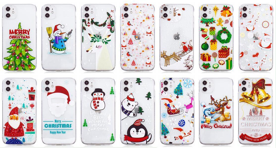 Joyeux Noël Cadeau doux TPU silicone pour iPhone 12 11 XS MAX XR X 8 7 Plus 6 6S Père Noël Chapeau Arbre Bonhomme de neige neige Gel Phone Cover