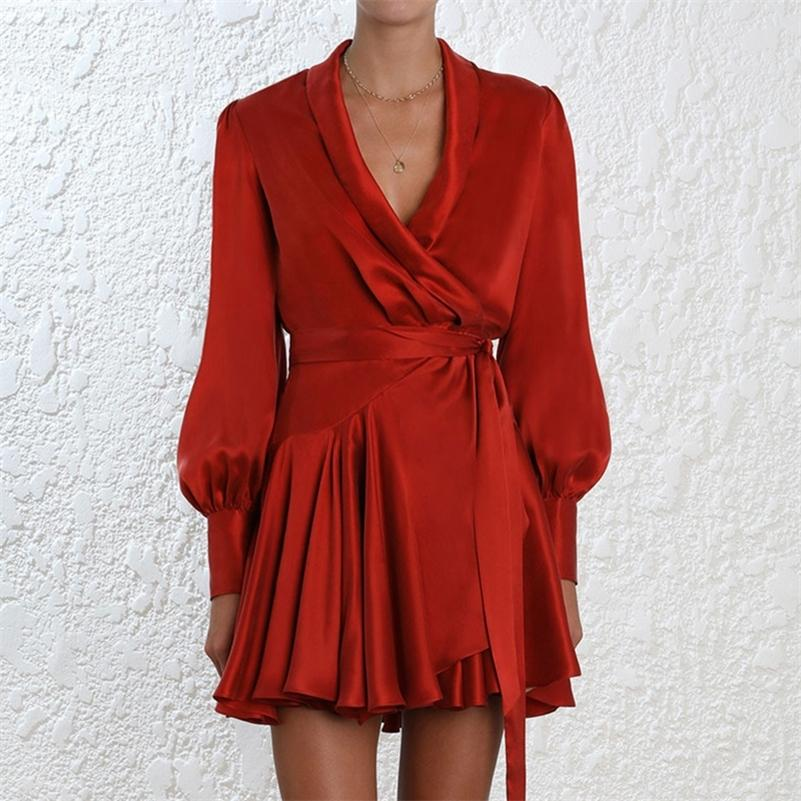 Elegante vestido de cetim de seda mulheres sexy v pescoço lanterna luva plissada faixa mini vestido de envoltório senhoras uma linha manga comprida vestido vestido lj200910