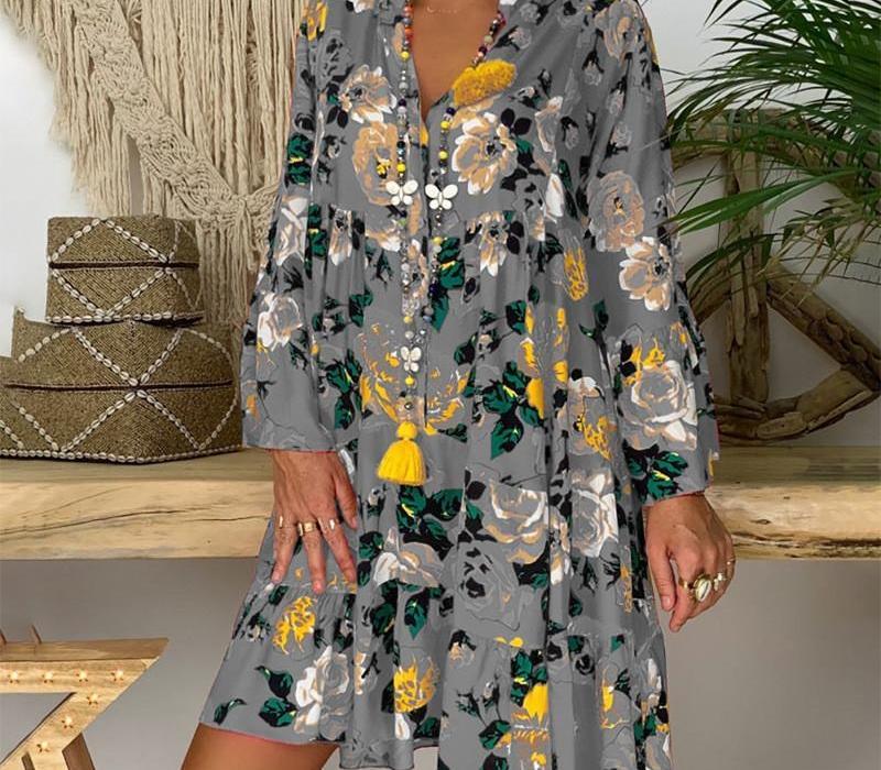 Été Imprimer Robes Sexy desserrées Vêtements Femme Casual Plus Size femmes Designer Robe col en V profond