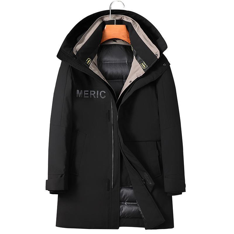 revestimento dos homens de inverno New capuz Homens longos e grossos quente jaqueta de jovens e de meia idade