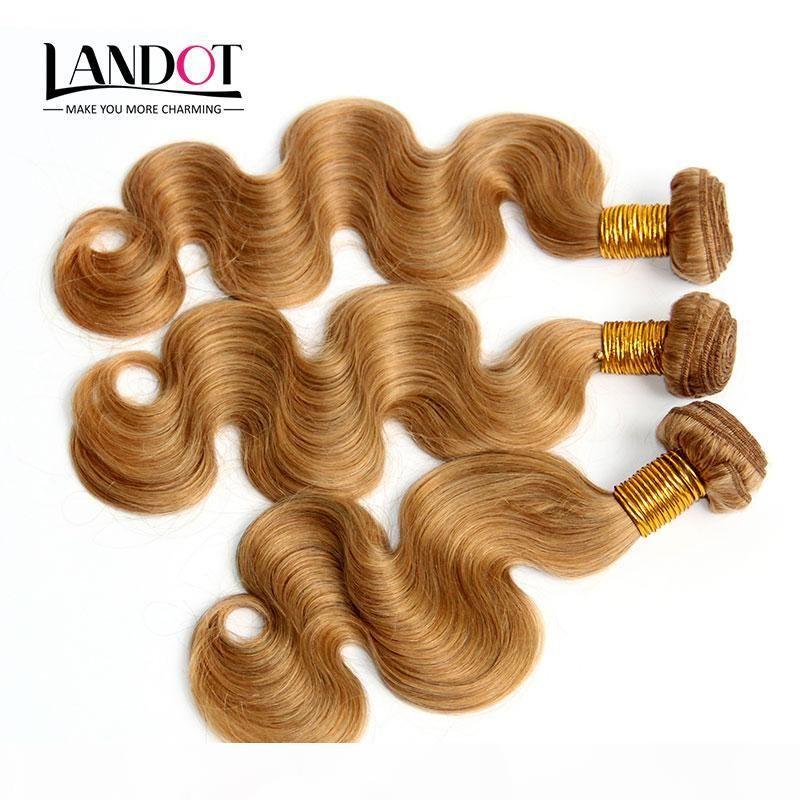 Перуанская волна тела волнистые девственные волосы медовые белокурые перуанские человеческие волосы плетение пучки цвета 27 # Расширения 3 4 шт. Лот 12-30 дюймов двойных ветков