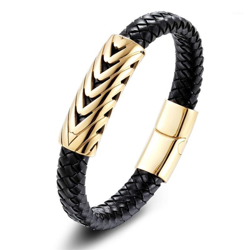 Persönlichkeit Echtes Leder Armband Serpentine arrow Design Gold Farbe Armreif Für Männer Modeschmuck Holiday Gifts1