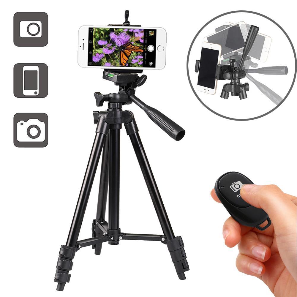 De peso ligero plegable sostenedor del trípode del teléfono con cámara en vivo de aluminio para el iPhone 12 11 Pro Max XS 7 8 Plus Smartphone Bluetooth remoto