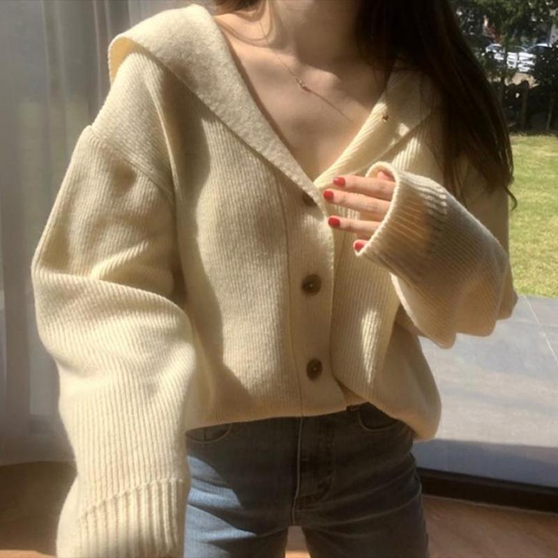 V-Neck Único Breasted Sweater Mulheres Long luva frouxo Casual malha Jumpers Sólidos doce coreano Cardigans Cashmere Outono 2021
