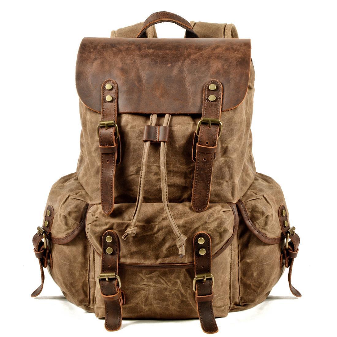 Herren Rucksack Leinwand Laptop Leder Vintage Reise Fach Rustikale Männer Wachs Bücherbag forwith Rucksack Rucksäcke Wachster Ligxf