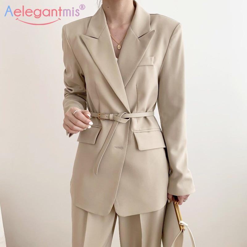 Aelegantmis Gevşek Casual Kadınlar Blazers Koreli Öğrenci Blazer Uzun Kollu Cep Ceket Ofis Lady İş Blazer Ceket Sashes C1007
