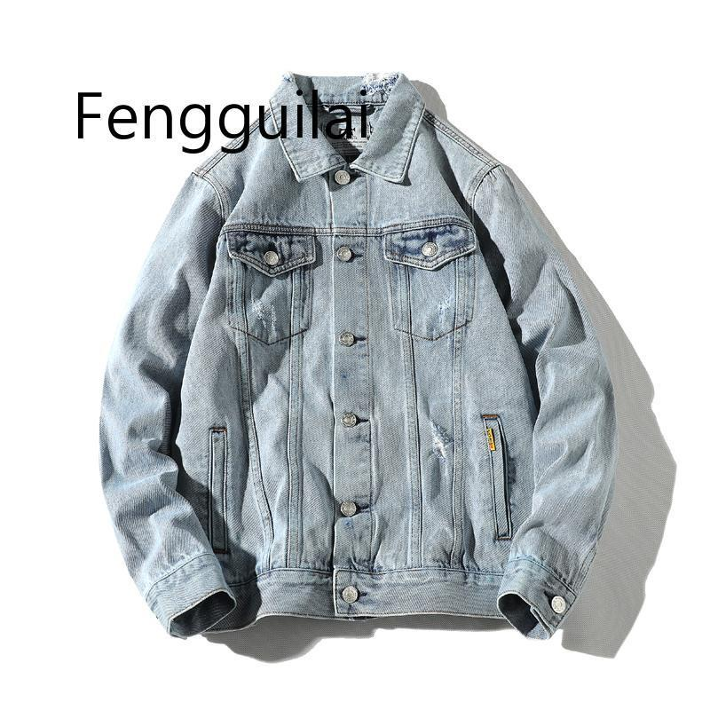 Sonbahar ceket erkekler 2019 kot ceket erkek bombacısının ceketler Erkekler Yüksek Kalite Man Vintage Jean Ceket Streetwear chaqueta Hombre 5XL C1108