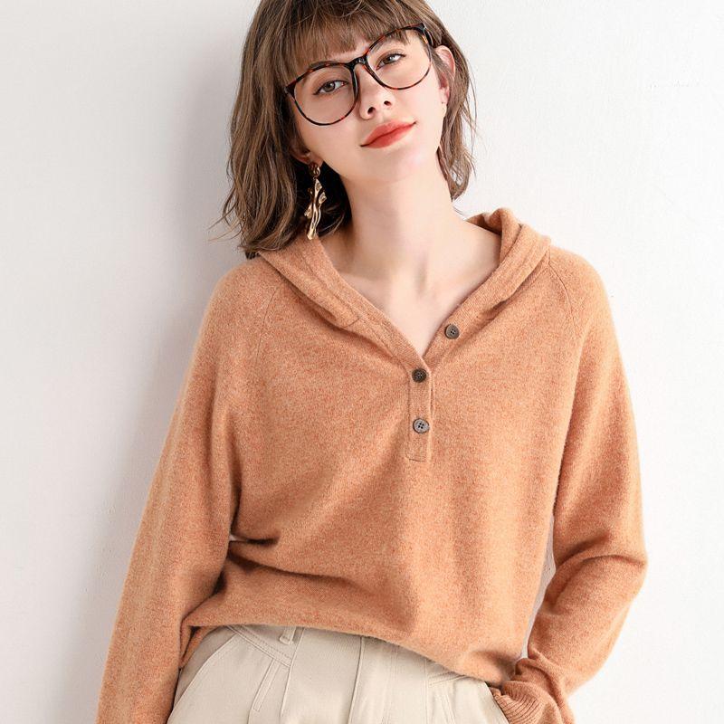 2020 Kadınlar Casual% 100 İnce Kapşonlu Triko Uzun Kollu V yaka Örme Hoody Kazak Yumuşak Merino Yün Sevimli Katı Renkler