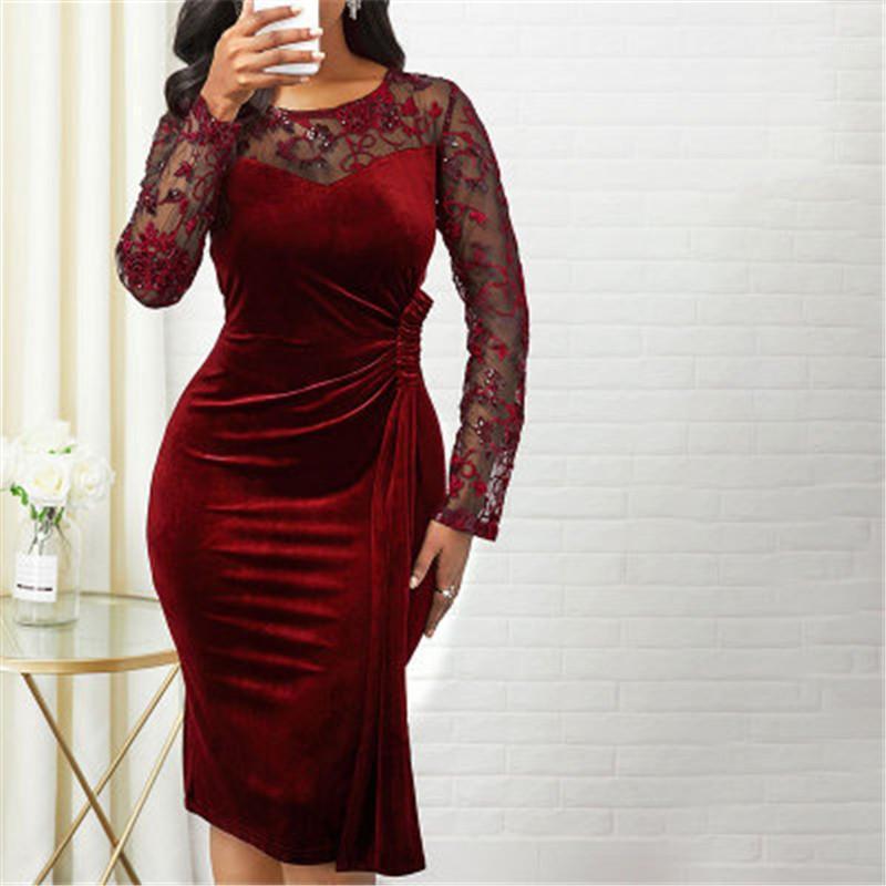 Designer Weiblich Neue dünne gestickte Midi-Rock-Frauen-Ineinander greifen Ärmeln Kleid Fashion Trend Langarm Rundhals beiläufige figurbetontes Kleid