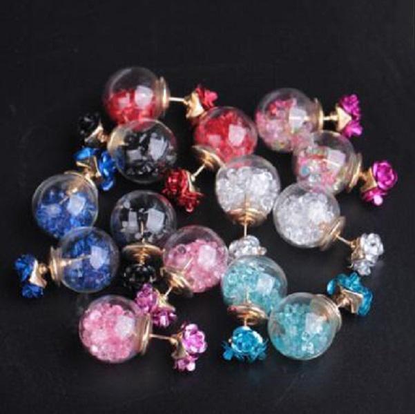 Corea Rose Glass Ball Rhinestone Stud Orecchini Fashion Designer 8 Colori Donne Charms Stud Orecchino all'ingrosso