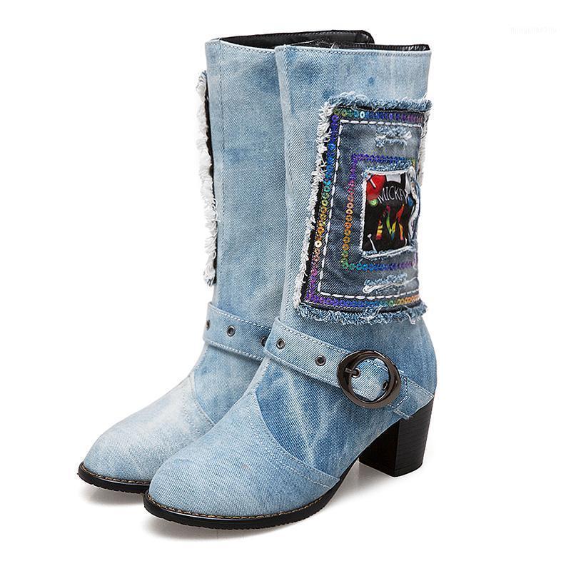 الأحذية Lucyever المرأة الخريف الشتاء عالية الكعب منتصف العجل عارضة الدينيم الشرابة التطريز كعب سميكة أحذية امرأة زائد الحجم 34-481