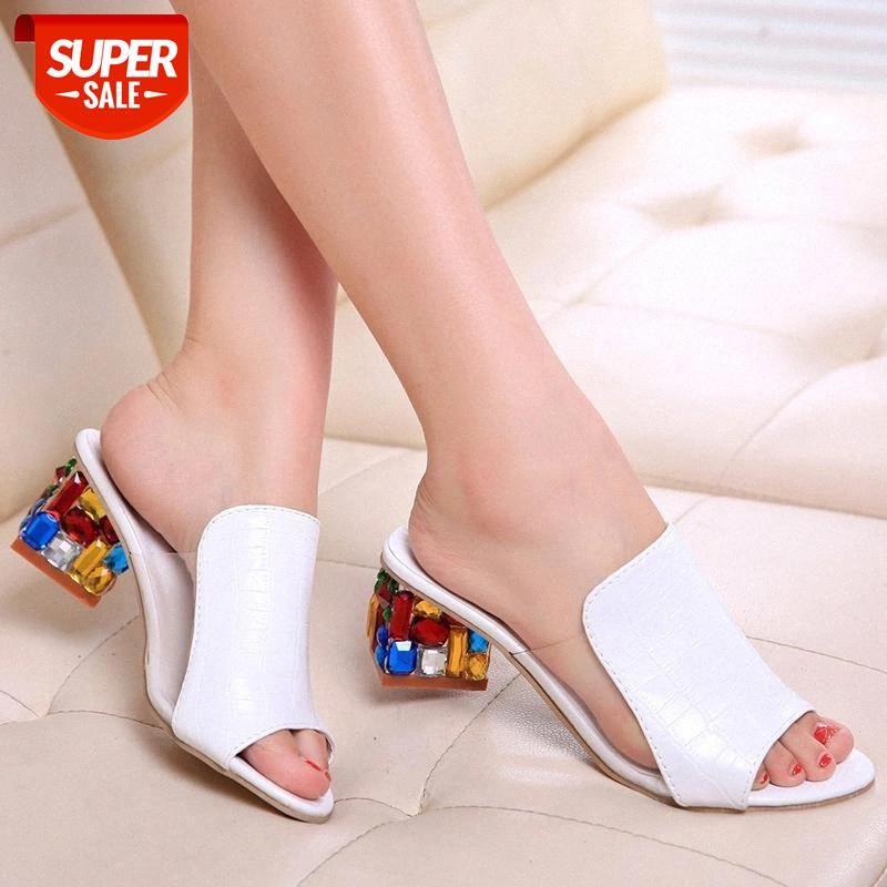 Sandali nausk sandali sandali pantofole 2020 spunta di stile estivo Pompe tacchi alti Slip on bling moda gladiatore scarpe da donna pompe # kl1w