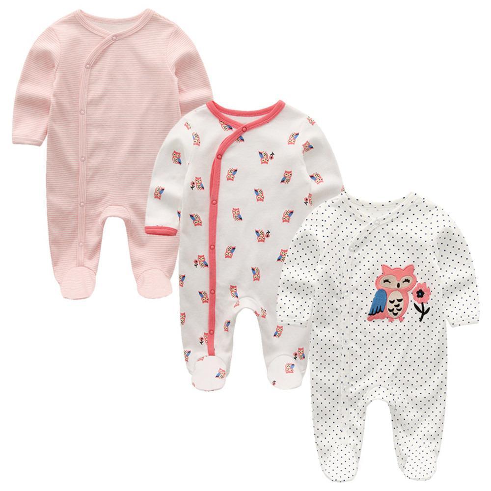 2020 Unisexe 2 / 3PCS / Lot Bébé Beautés 0-12m Pyjamas Vêtements nouveau-nés Ensemble bébé Girls Vêtements Bébé garçon Vêtements O-Cou Roupeau de Bebe C0126