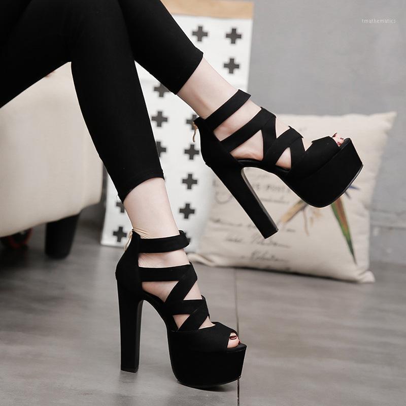 İlkbahar Yaz 15 cm Moda Kalın Sandalet Ile Balık Ağız Ayakkabı Yüksek topuklu Hollow Sandalet Gece Kulübü Yüksek Sandalias Mujer1