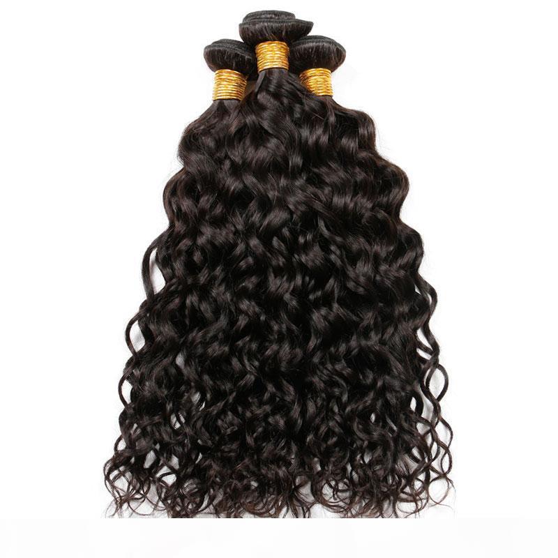 9A Brésilien indien malaisien de la vague d'eau péruvienne vierge cheveux humains tisse des paquets humides et ondulés Remy extensions de cheveux humains de couleur naturelle