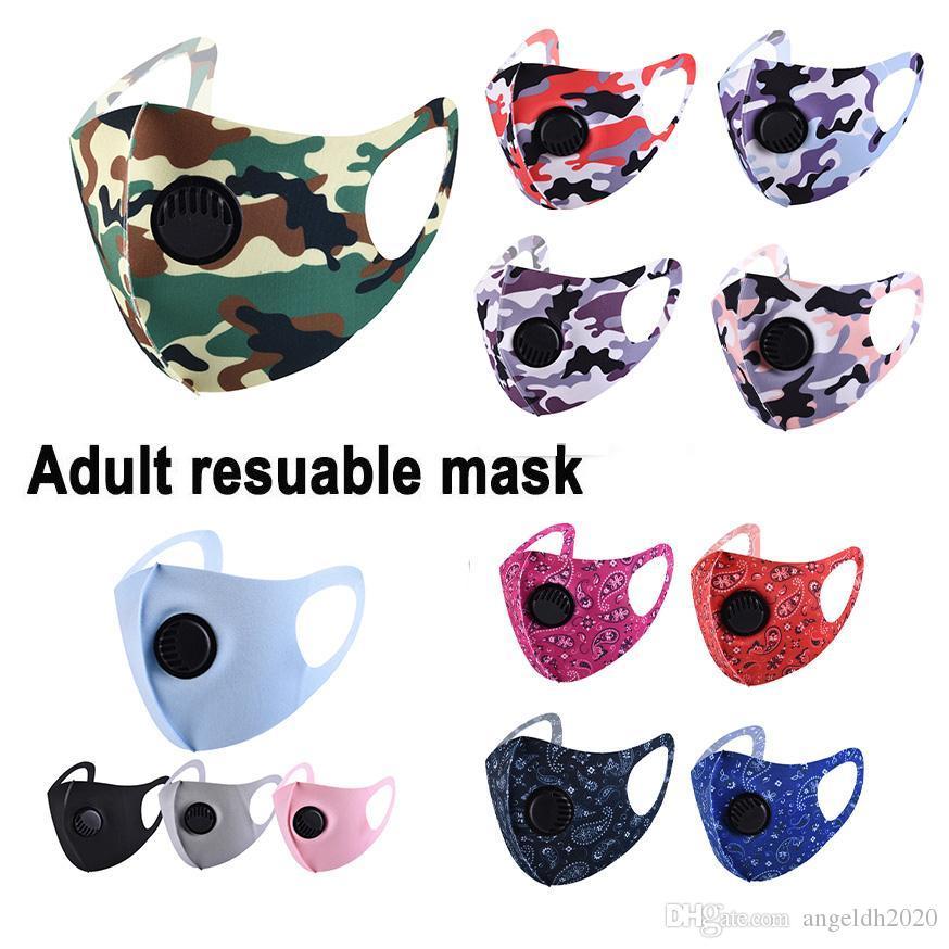 Ultrasottile Estate Maschera per il viso maschere camuffamento Bocca Camo Stampa Earloop respiratore anti-polvere maschera di protezione per il trasporto della donna e dell'uomo libero