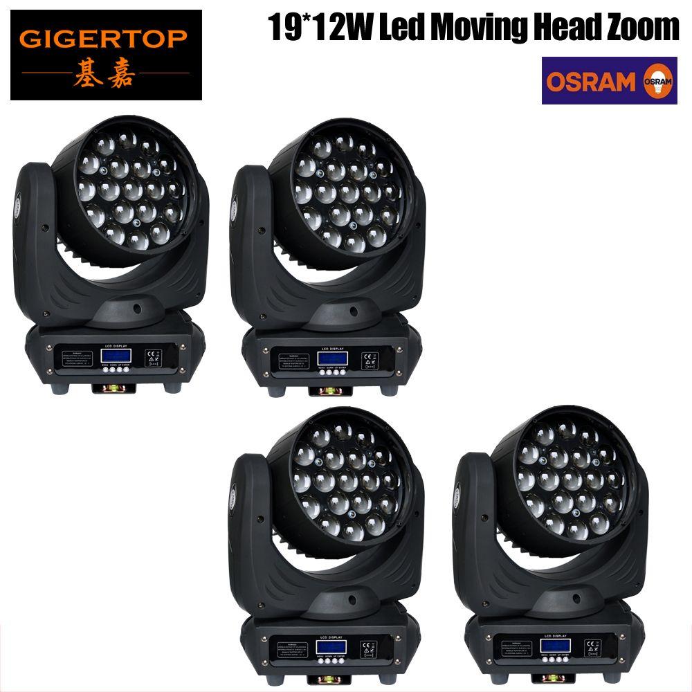 Freeshipping 4 Pack 19 x 12W OS-RAM Led Moving Head fascio di luce veloce / potente zoom luce mini di piccola dimensione DMX512 16CH Master / Slave