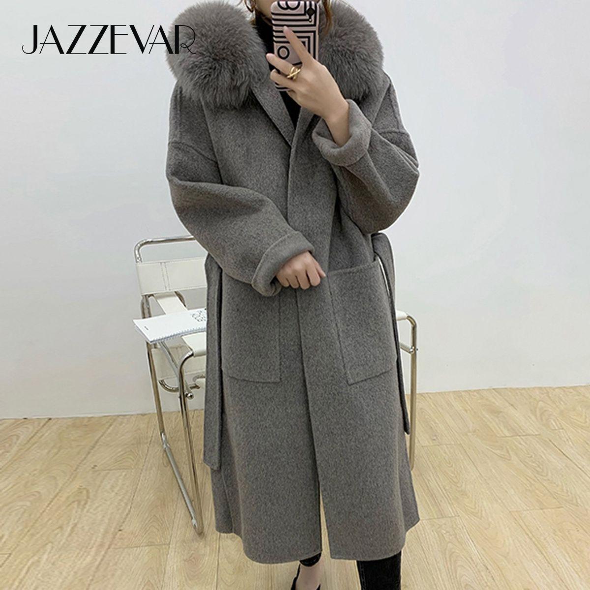 JazzVar inverno mulheres casuais longas raposa raposa jaqueta de pele cashmere Duplo de frente para lã outerwear senhoras grandes casacos com capuz 210204