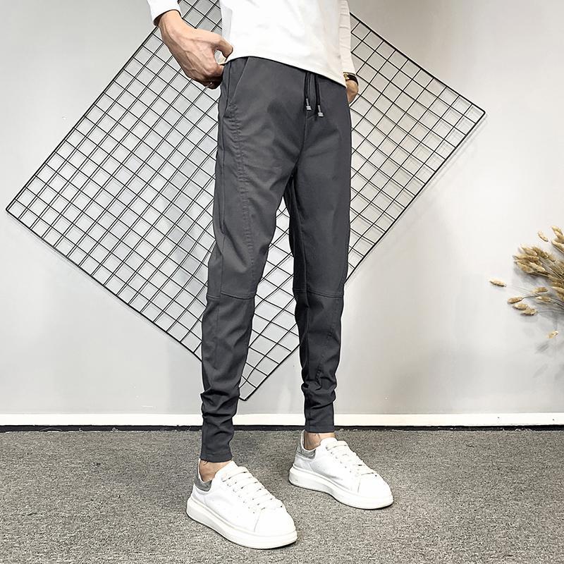 2Colors Autunno New coreano dimagriscono pantaloni casual Harem Abbigliamento Uomo 2020 Moda impiombato design pareggiatori Pantaloni Nero / Grigio 36-28