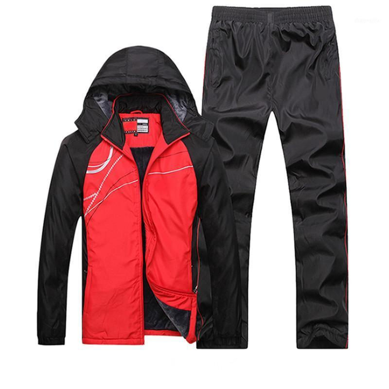 Men 2020 Winter Fleece Lining Sportswear Jogging Suits Outdoor Workout Sport Suit Male Sport Clothing Keep Warm Hooded Running1