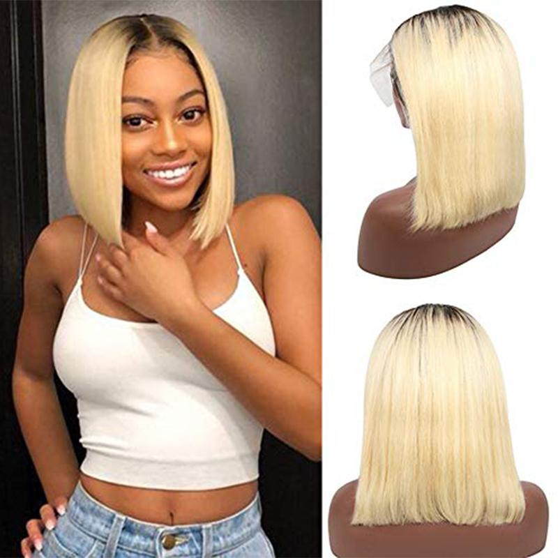 Ombre Blonde Human Hair Wigs 13x1x4 Lace Frontal Bob Middle Part 180% Density Glueless Silky Straight for Women Brazilian Hair