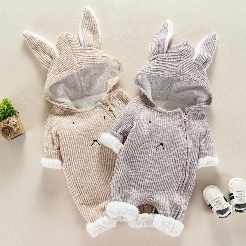 Vender 6M-12M orelhas de coelho além de veludo inverno queda bonito Romper Babygirl Onesie bebê recém-nascido Roupa infantil Little Girls Outfits Q1113