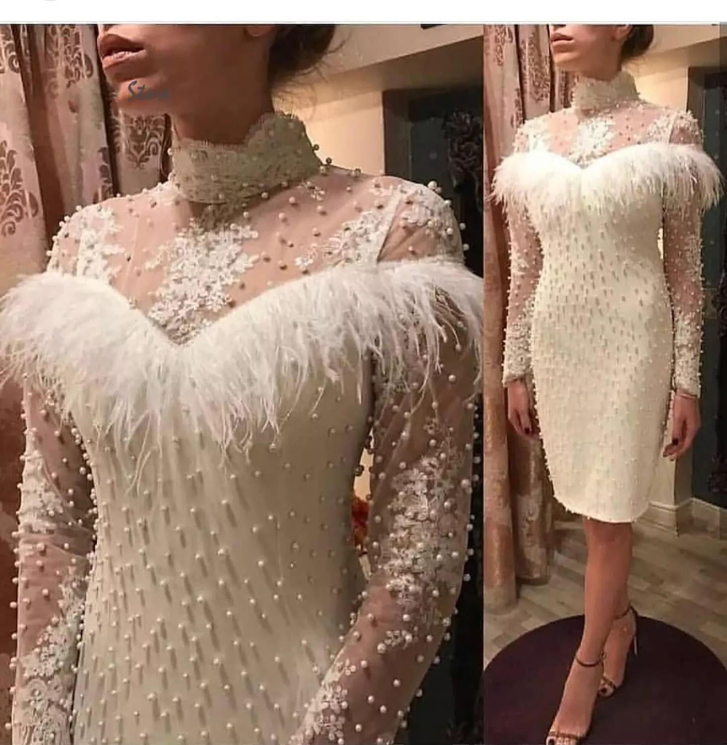 Vintage White High Neck Feather Cocktail Prom Dress Knee Length with Long Sleeves Pearls Evening Bridesmaid Homecoming Party Dress Cheap
