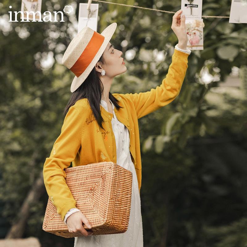 INMAN Automne japonais causales Broderie Vêtements d'extérieur mignon femme pull femme fille Top Cardigan Bouton Maille 201007