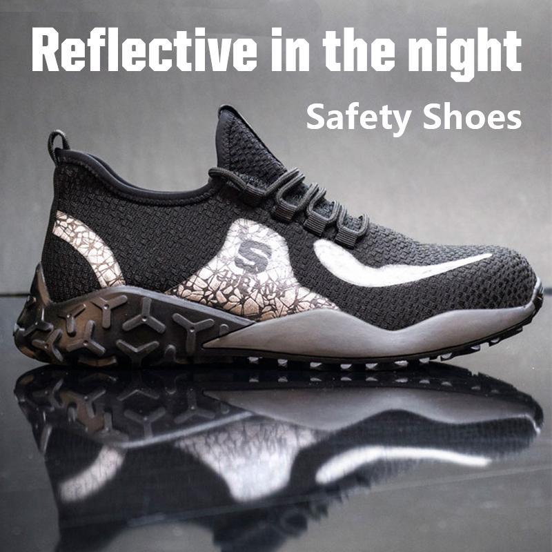 Punta Acero Seguridad en el Trabajo zapatos de punta de acero Cap Hombres Con indestructible Ryder zapato zapatos ligeros reflectante de trabajo para los hombres 201019