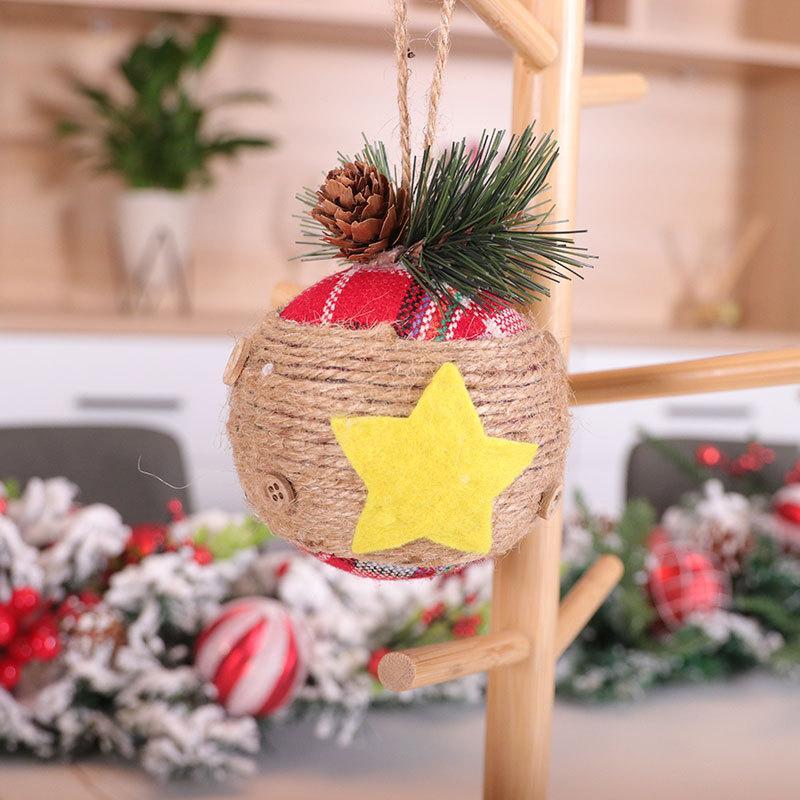 Бесплатная доставка Круглый Новогоднее украшение подвеска льняные Balls белье красный Lattice украшения рождественской елки Lanyard висячие мяча F7803