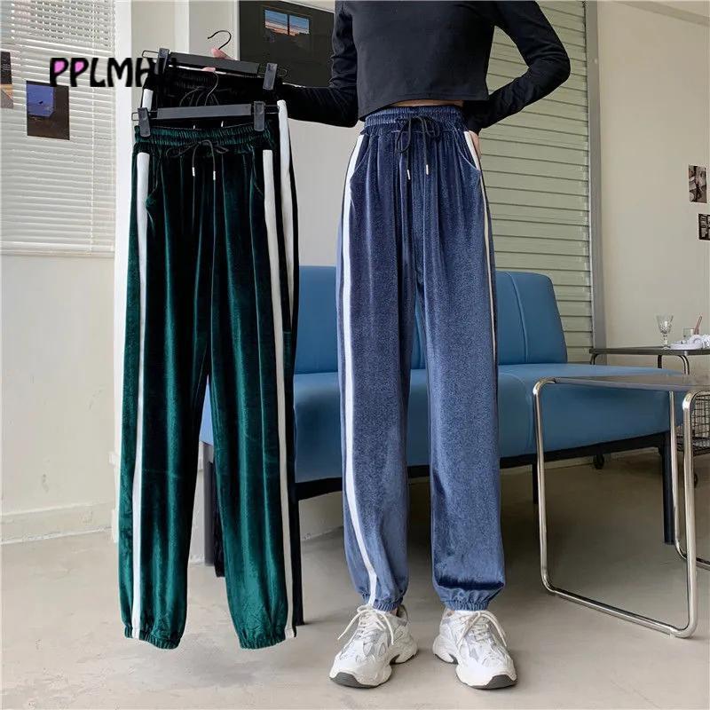 Autunno velluto coulisse laterale Stripe Pantaloni felpa donne Plus Size 5XL 6XL rigonfio Harem Streetwear Pantaloni a vita alta Pantaloni